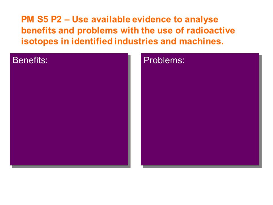 PM S5 P2 – Use available evidence to analyse benefits and problems with the use of radioactive isotopes in identified industries and machines.