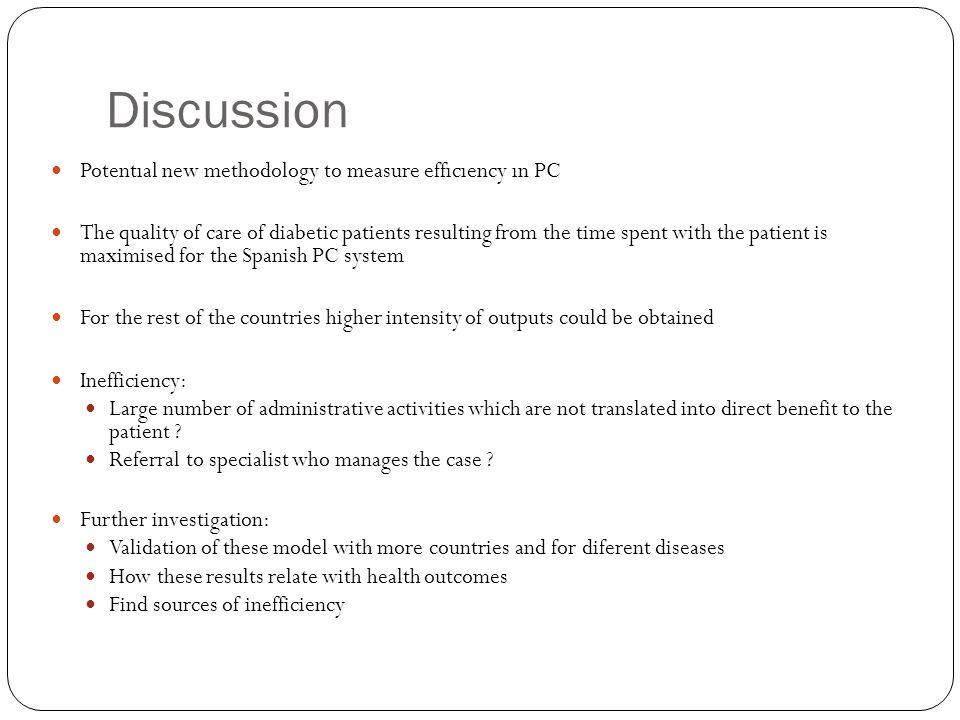 Discussion Potentıal new methodology to measure effıcıency ın PC