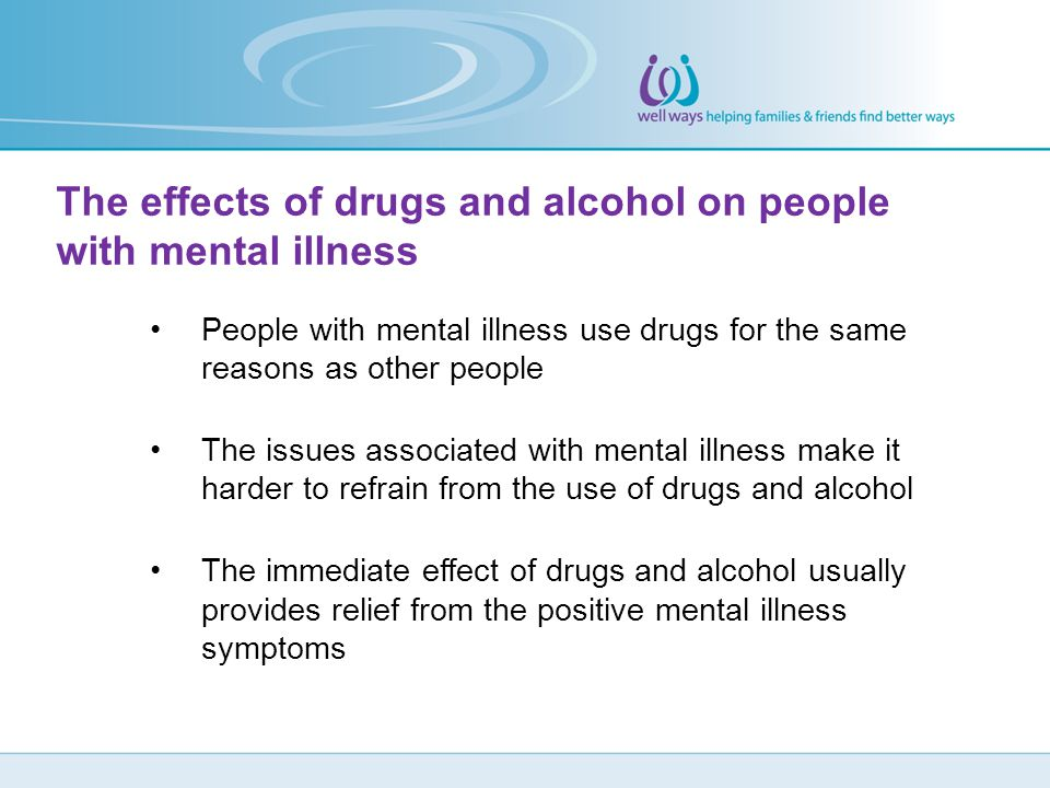 The effects of drugs and alcohol on people with mental illness