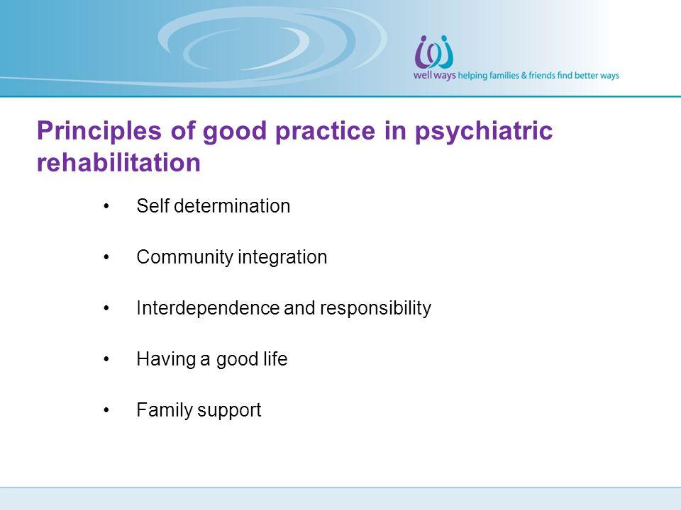 Principles of good practice in psychiatric rehabilitation