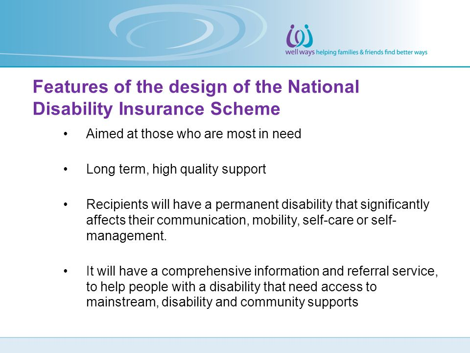 Features of the design of the National Disability Insurance Scheme
