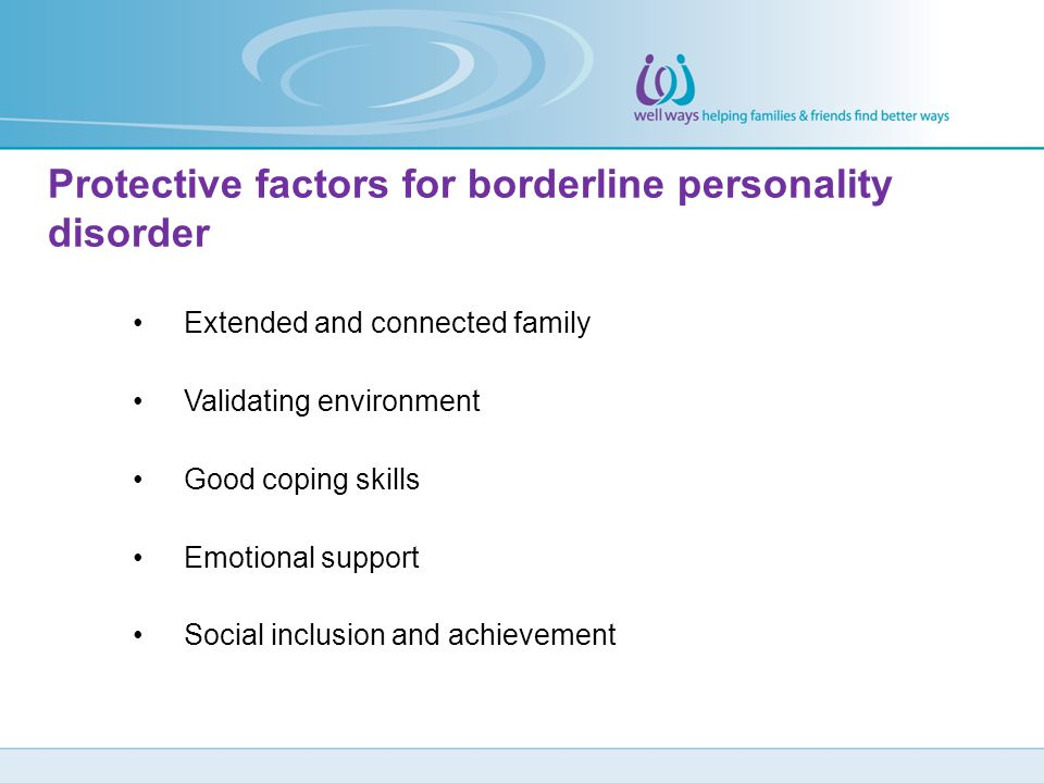 Protective factors for borderline personality disorder
