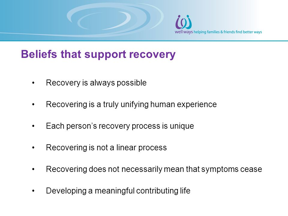 Beliefs that support recovery