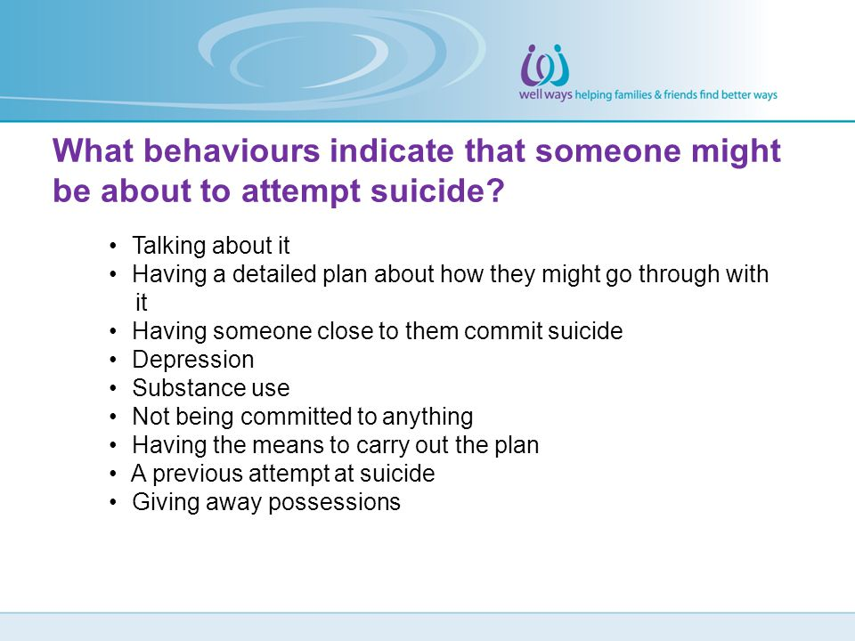 What behaviours indicate that someone might be about to attempt suicide