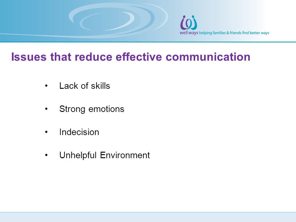 Issues that reduce effective communication
