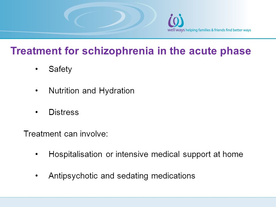Treatment for schizophrenia in the acute phase
