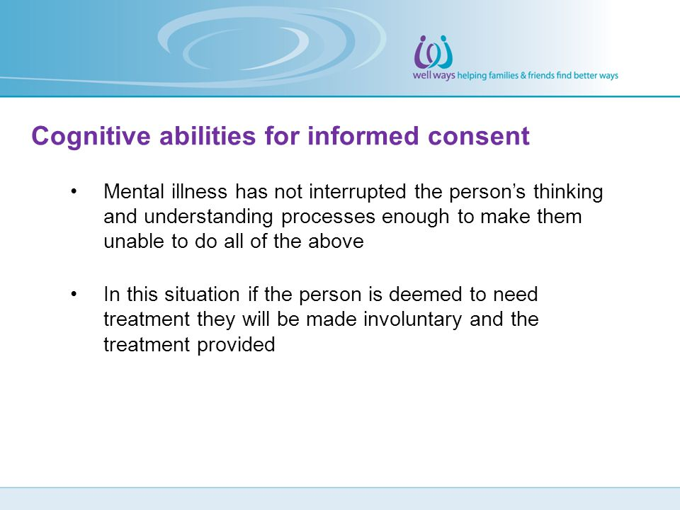 Cognitive abilities for informed consent