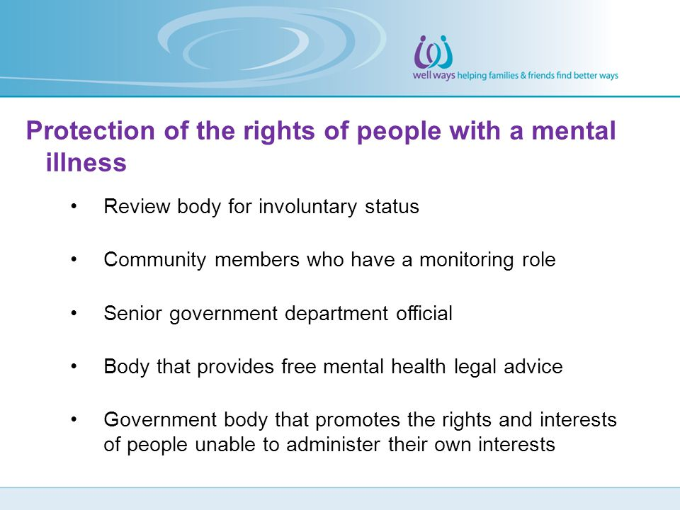 Protection of the rights of people with a mental illness