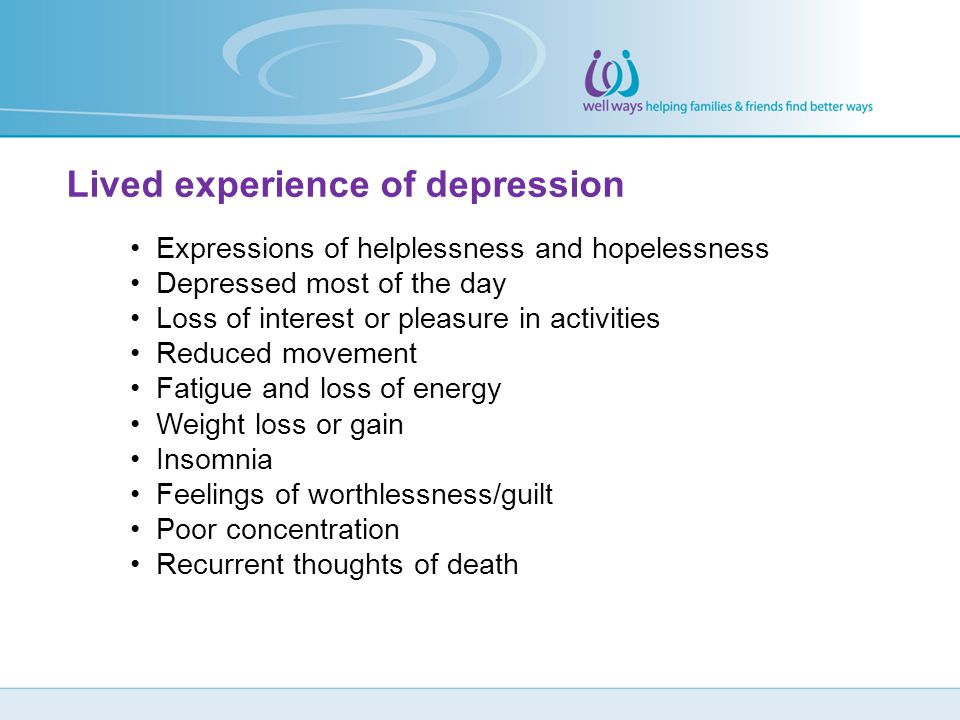Lived experience of depression