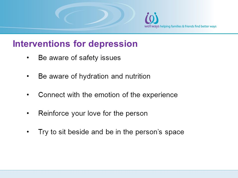 Interventions for depression