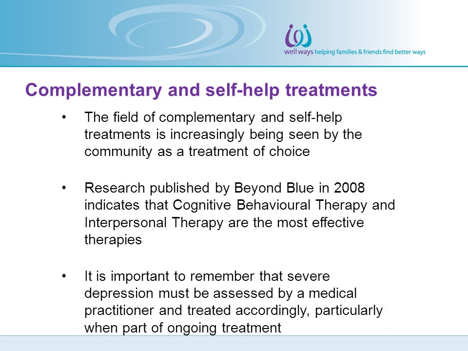 Complementary and self-help treatments