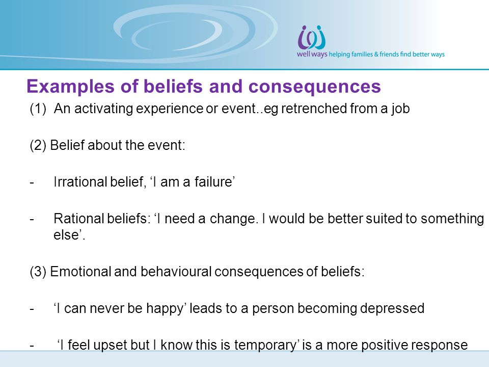 Examples of beliefs and consequences