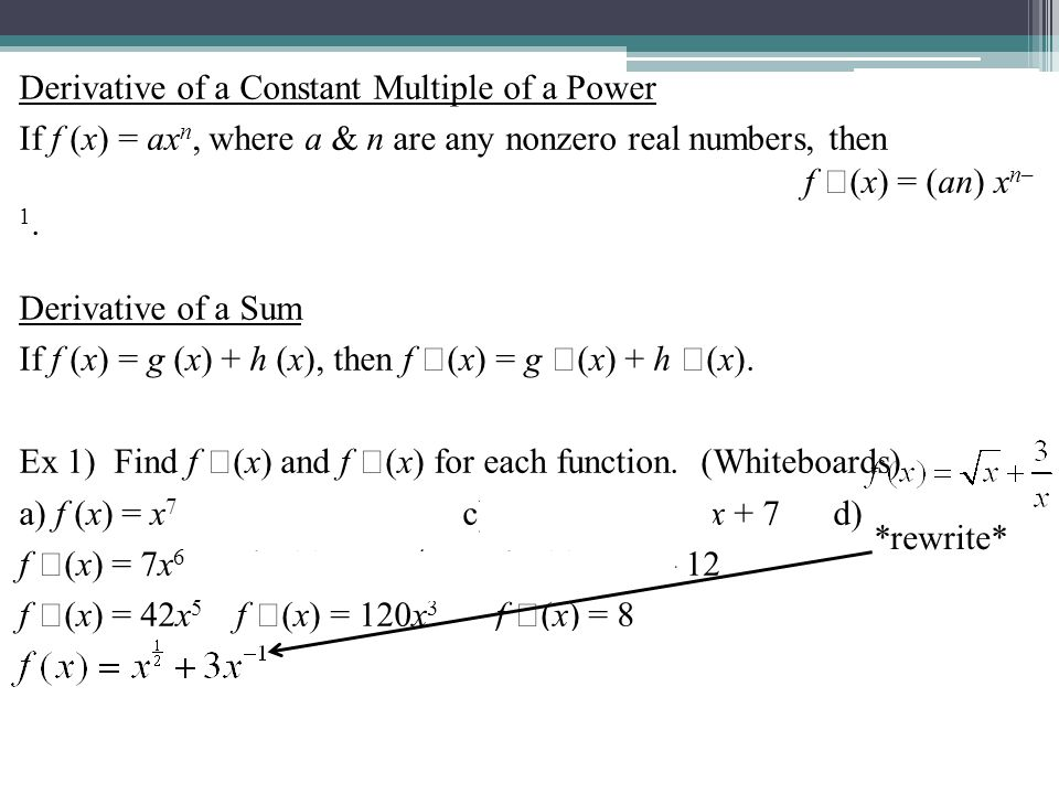 Derivative of a Constant Multiple of a Power