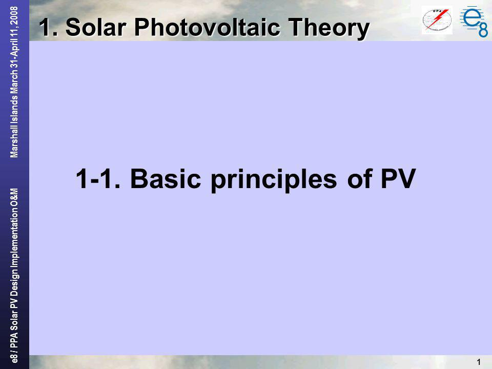 1. Solar Photovoltaic Theory