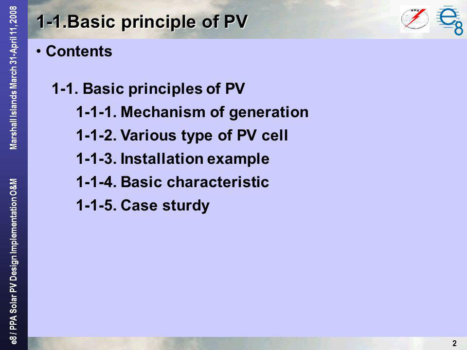 1-1.Basic principle of PV Contents