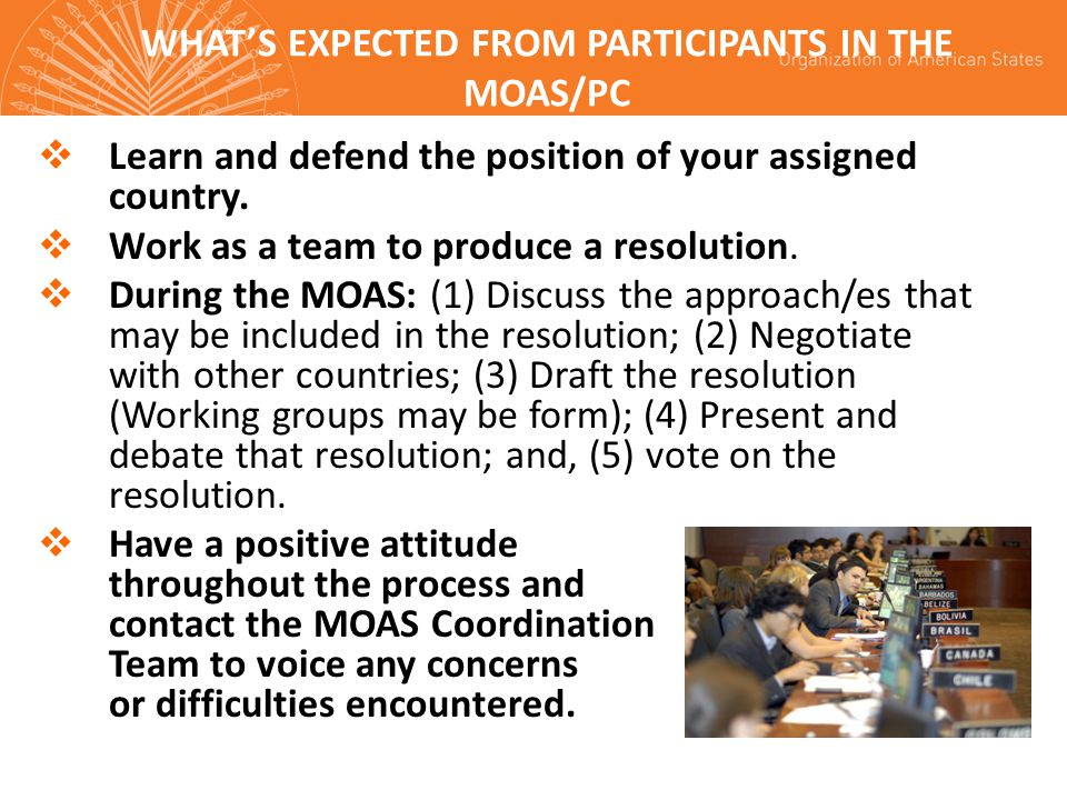 WHAT'S EXPECTED FROM PARTICIPANTS IN THE MOAS/PC