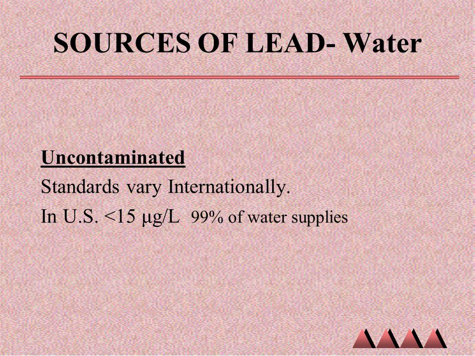 SOURCES OF LEAD- Water Uncontaminated Standards vary Internationally.