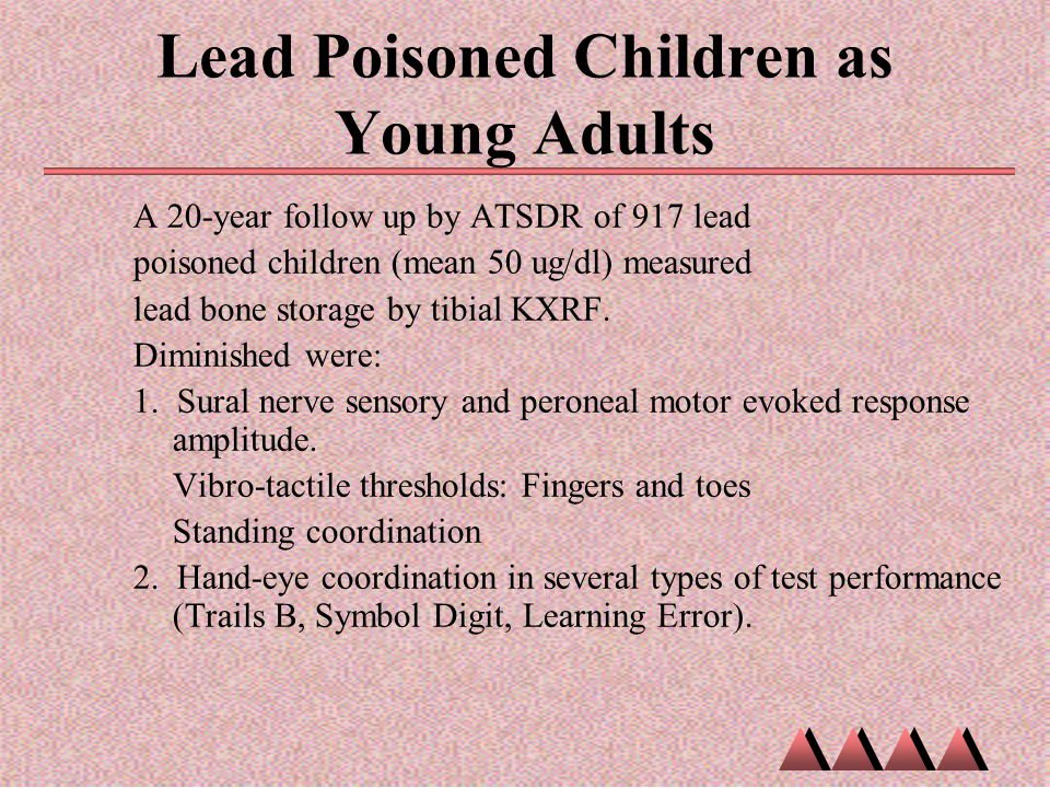 Lead Poisoned Children as Young Adults