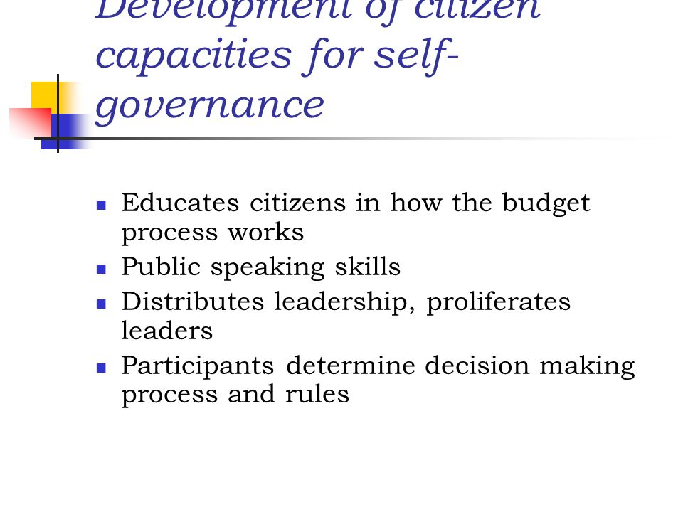 Development of citizen capacities for self-governance