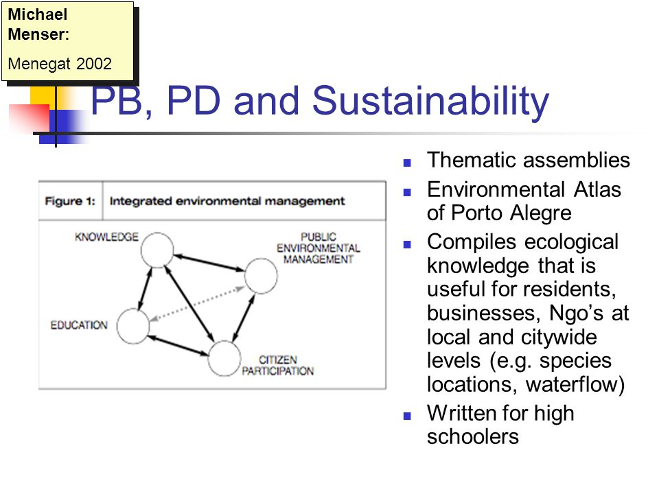 PB, PD and Sustainability