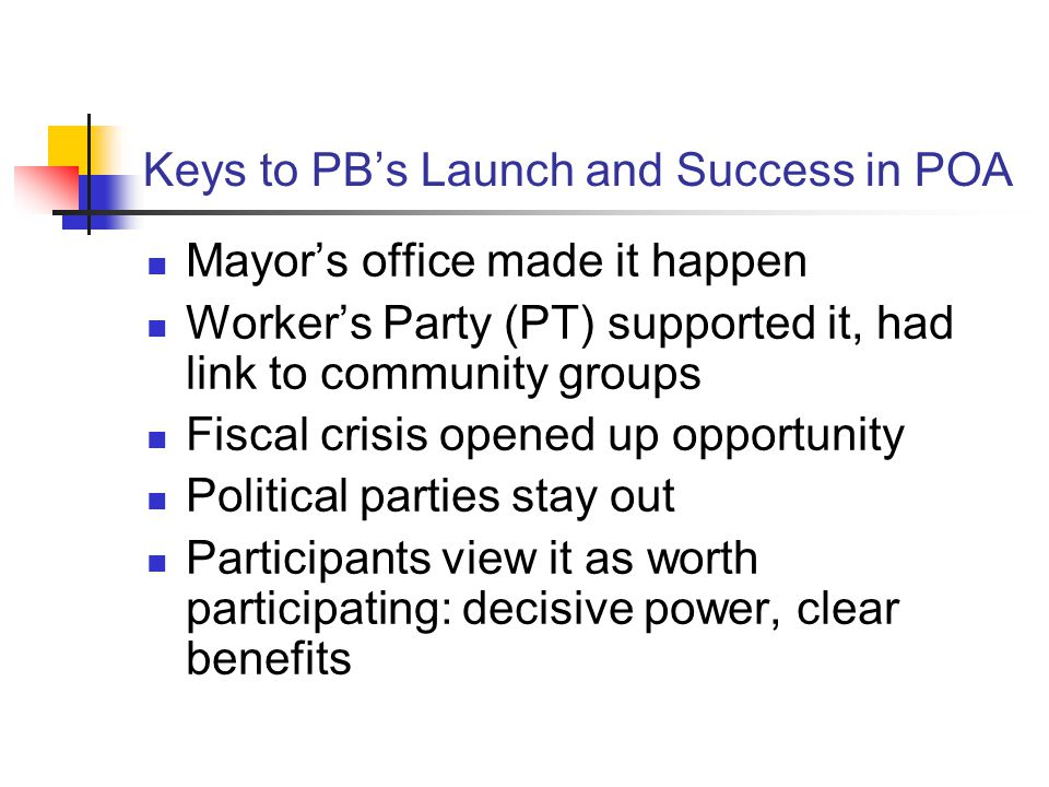 Keys to PB's Launch and Success in POA