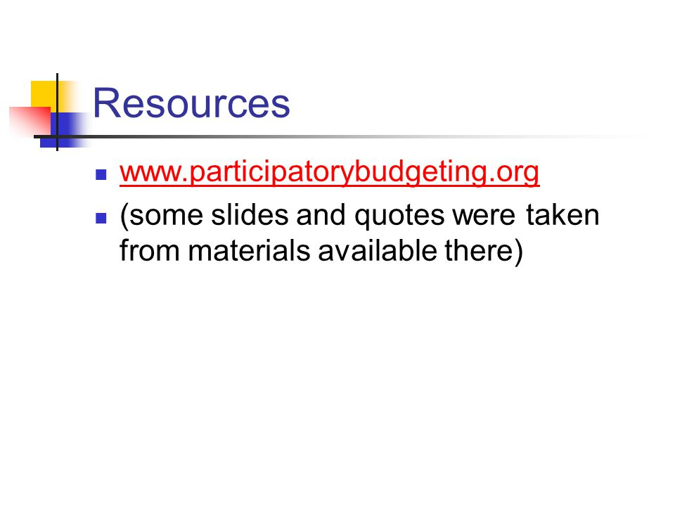 Resources www.participatorybudgeting.org