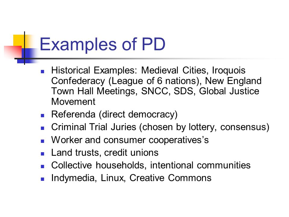 Examples of PD