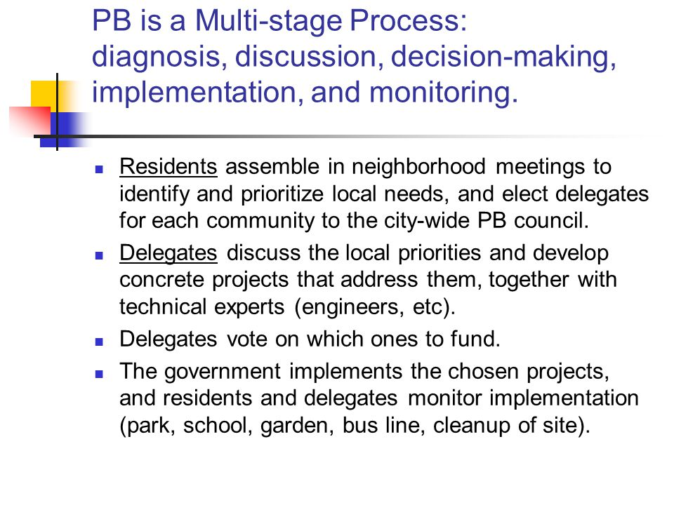 PB is a Multi-stage Process: diagnosis, discussion, decision-making, implementation, and monitoring.
