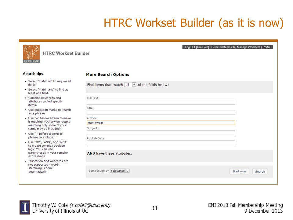 HTRC Workset Builder (as it is now)