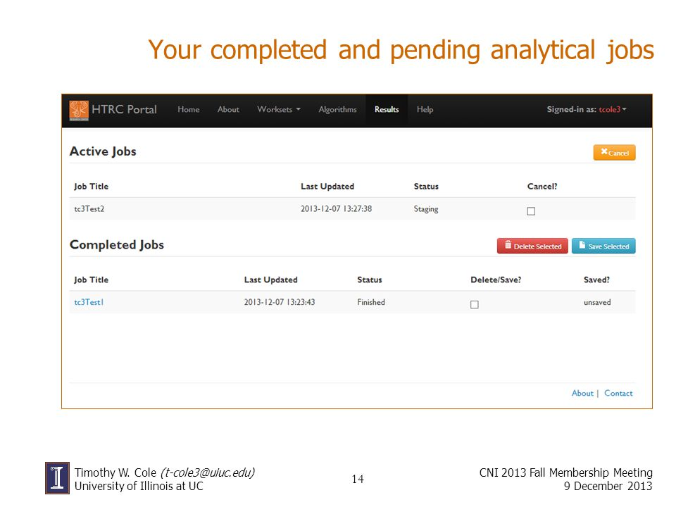 Your completed and pending analytical jobs