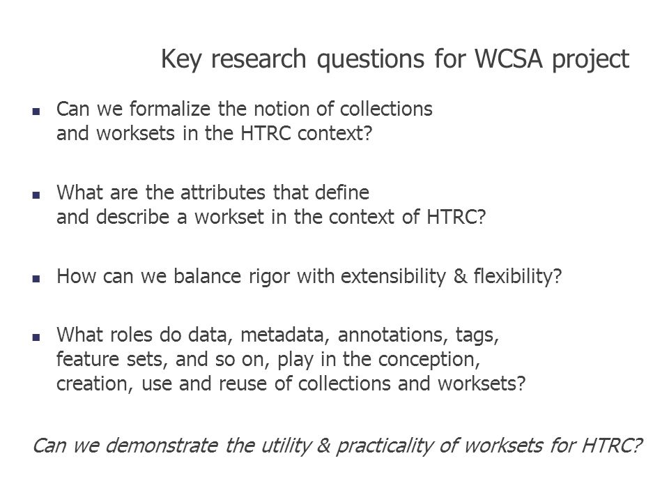 Key research questions for WCSA project