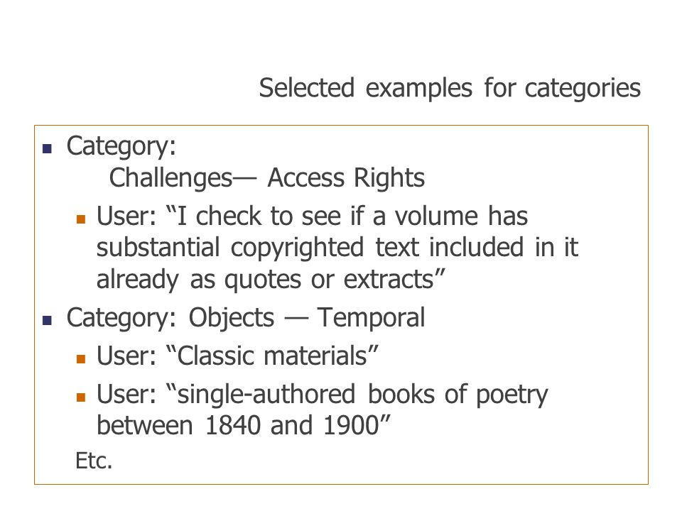 Selected examples for categories