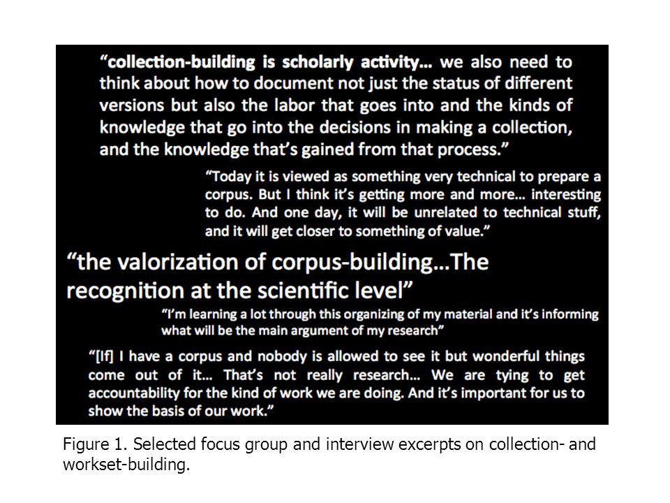 Figure 1. Selected focus group and interview excerpts on collection- and workset-building.