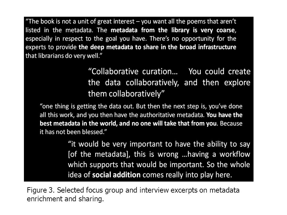 Figure 3. Selected focus group and interview excerpts on metadata enrichment and sharing.