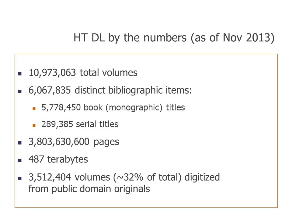 HT DL by the numbers (as of Nov 2013)