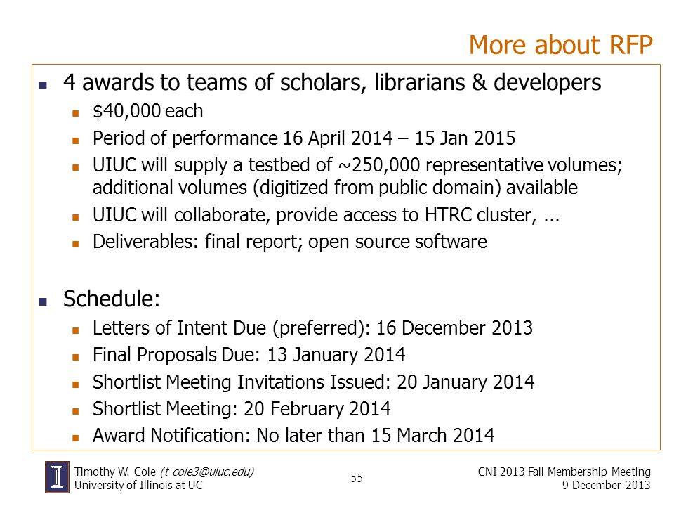 More about RFP 4 awards to teams of scholars, librarians & developers