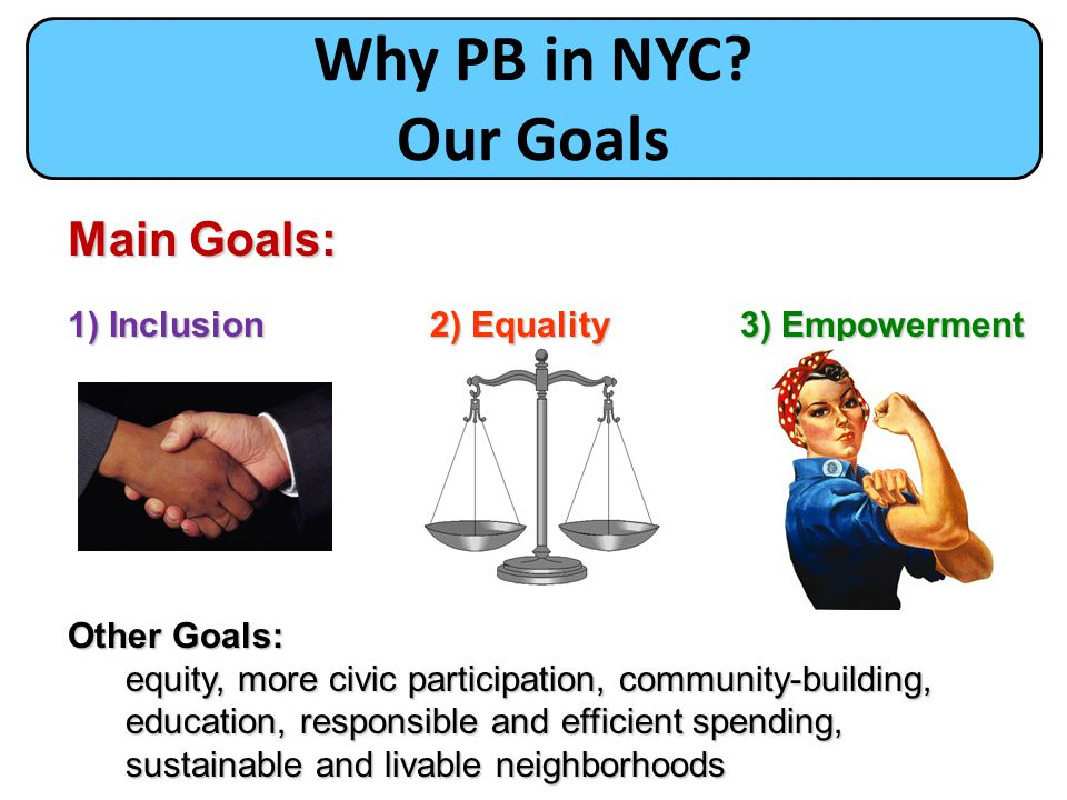 Why PB in NYC Our Goals Core Principles Main Goals: