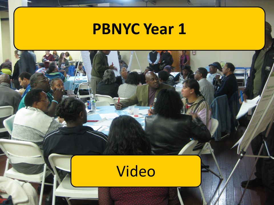 PBNYC Year 1 Now we're going to watch a short video on how PB worked last year to give you a better sense of what this looks like in practice.