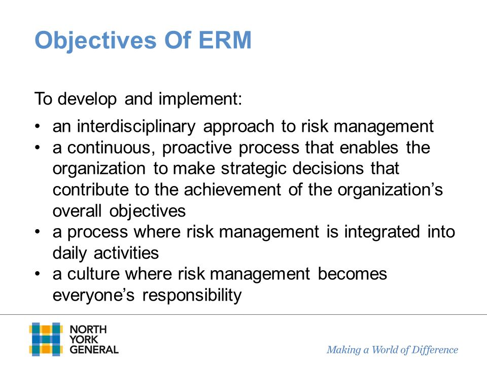 Objectives Of ERM an interdisciplinary approach to risk management