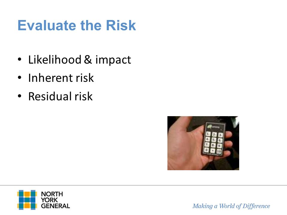 Evaluate the Risk Likelihood & impact Inherent risk Residual risk