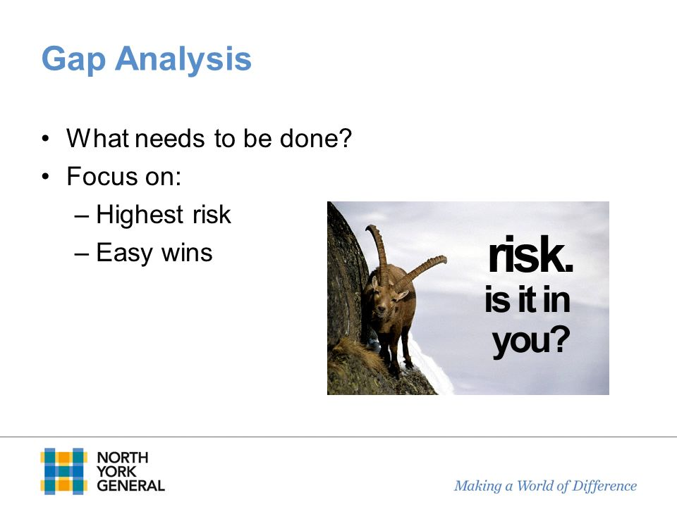 Gap Analysis What needs to be done Focus on: Highest risk Easy wins