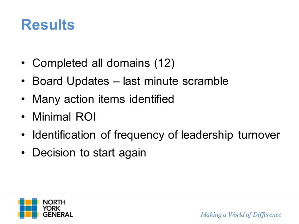 Results Completed all domains (12)