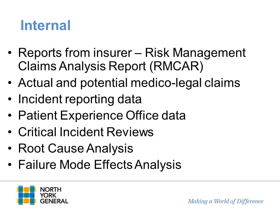 Internal Reports from insurer – Risk Management Claims Analysis Report (RMCAR) Actual and potential medico-legal claims.