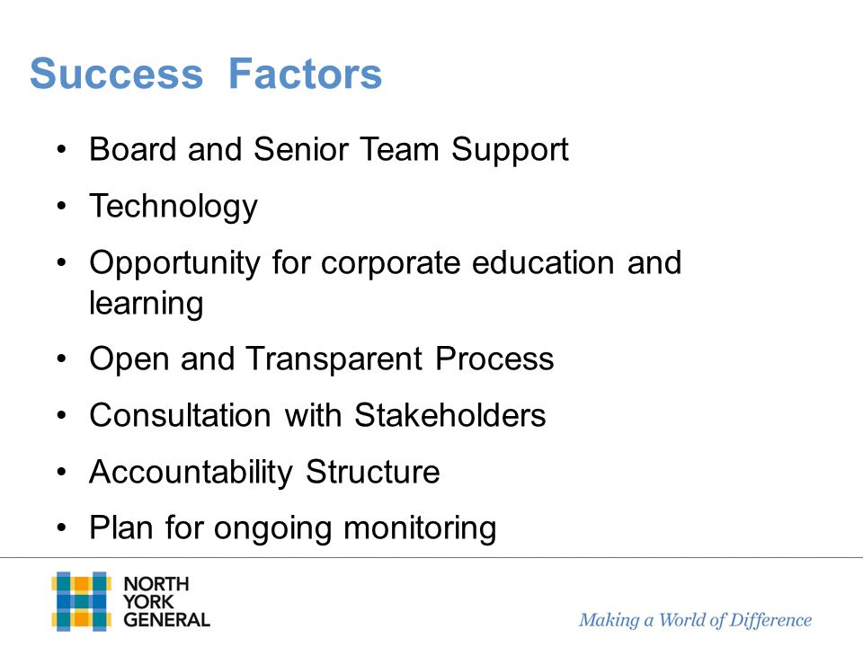 Success Factors Board and Senior Team Support Technology