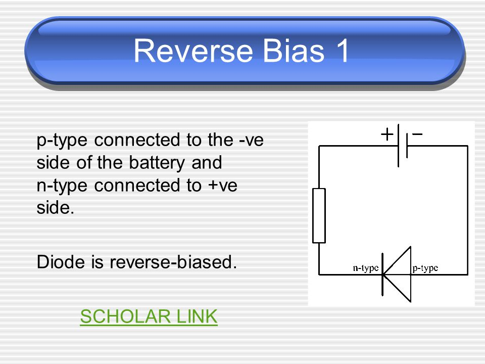 Reverse Bias 1 p-type connected to the -ve side of the battery and n-type connected to +ve side.