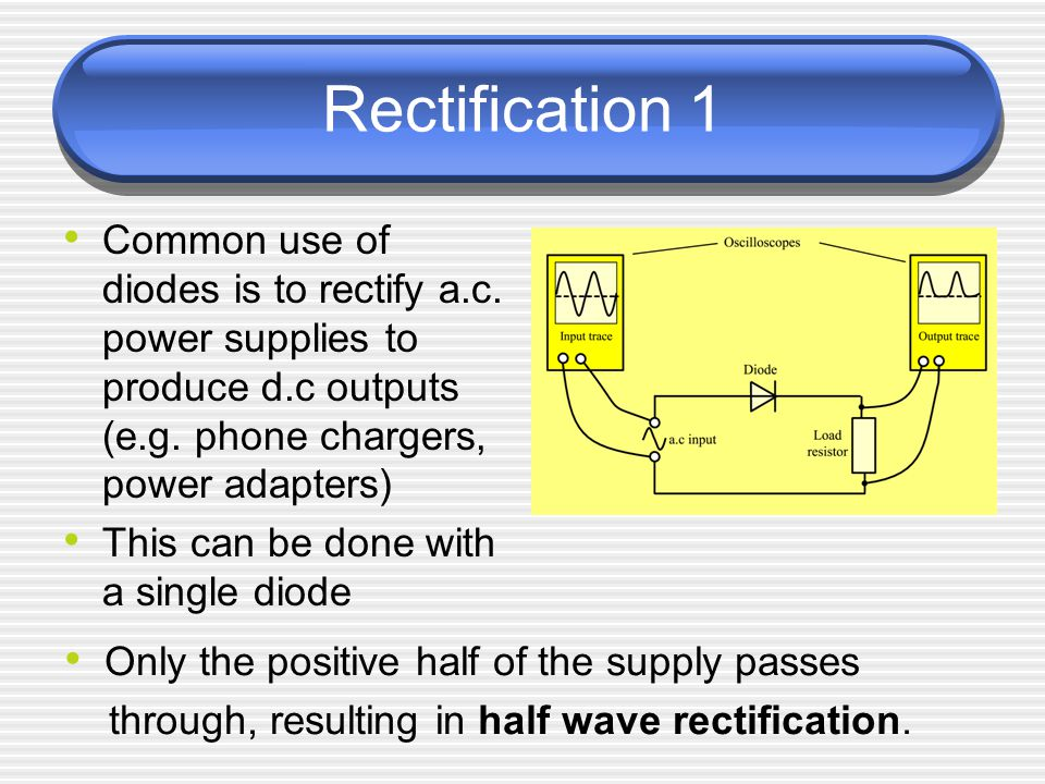 Rectification 1 Common use of diodes is to rectify a.c. power supplies to produce d.c outputs (e.g. phone chargers, power adapters)