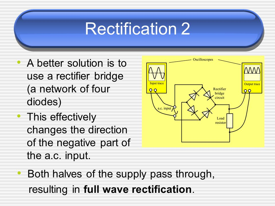 Rectification 2 A better solution is to use a rectifier bridge (a network of four diodes)