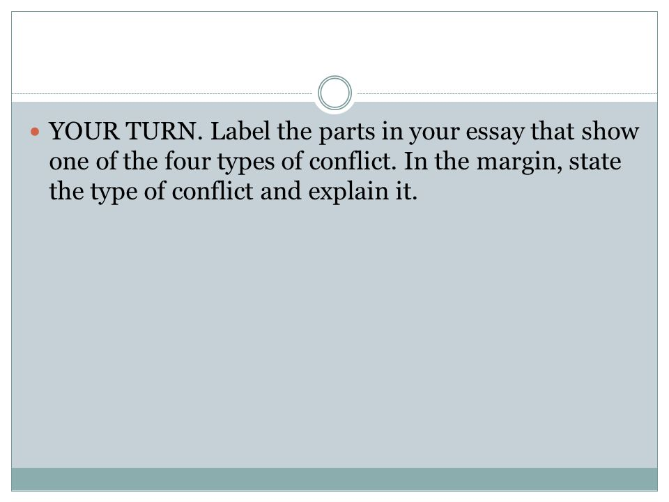 YOUR TURN. Label the parts in your essay that show one of the four types of conflict.