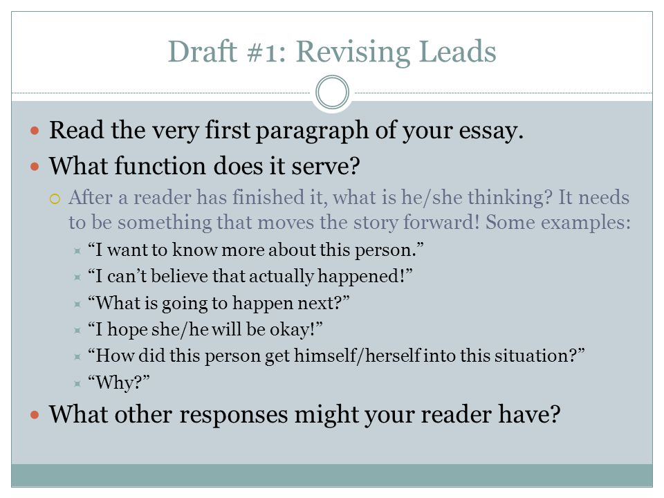 Draft #1: Revising Leads
