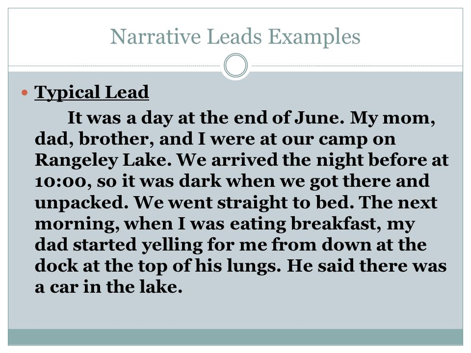 Narrative Leads Examples